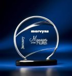 Bent Wire Circle on Black Acrylic Base Acrylic and Metal Awards