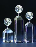 Globe on Pillar Award Clear Crystal Awards