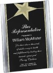 Black/Gold Standing Star Acrylic Recognition Plaque Square Rectangle Awards